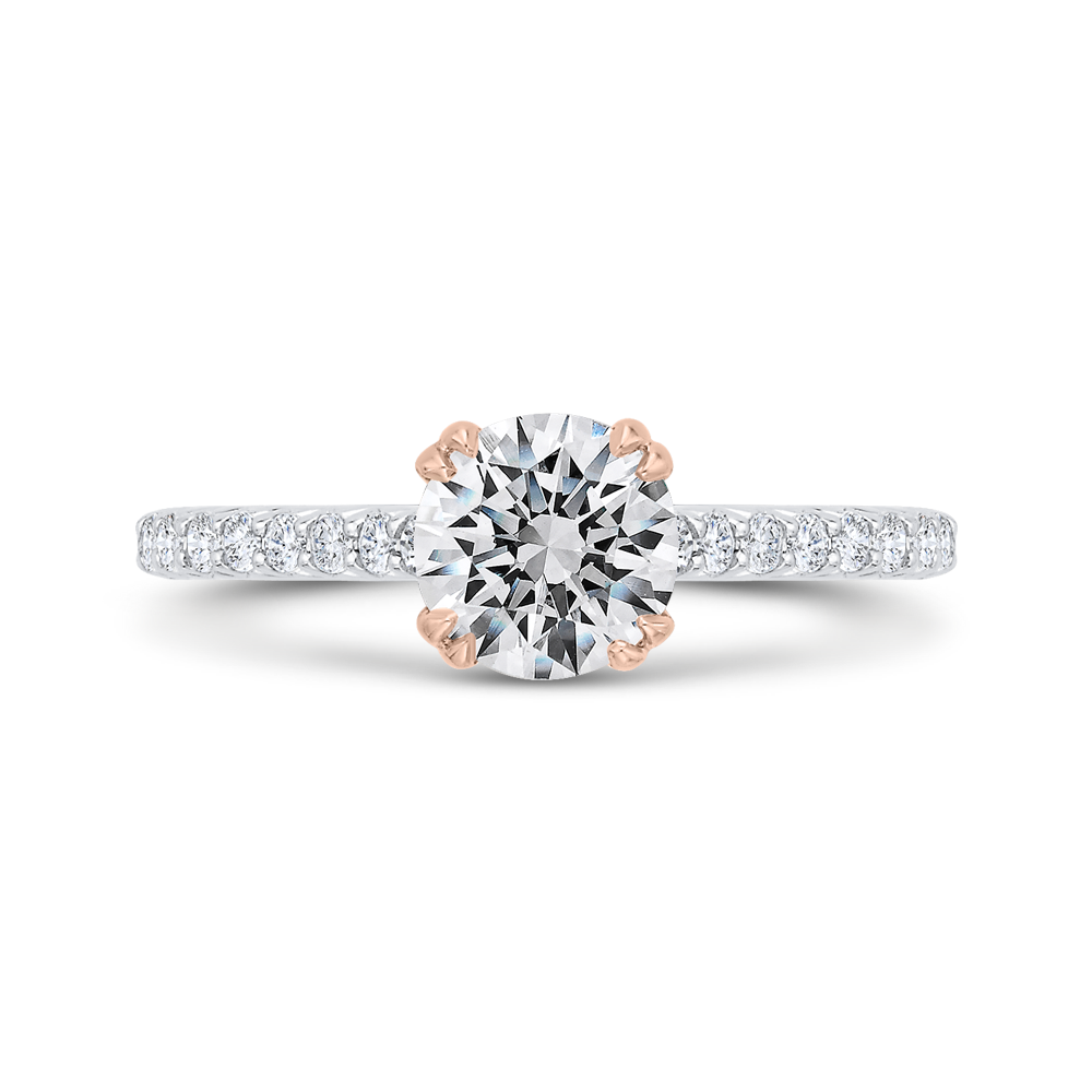 CA0528EH-37WP-1.00 Bridal Jewelry Carizza White Gold,Rose Gold Round Diamond Engagement Rings