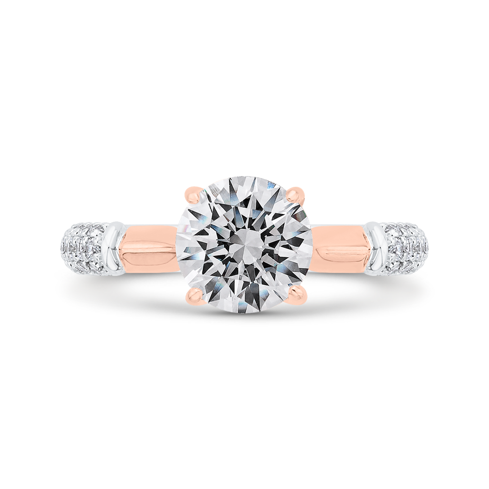 CA0530EH-37WP-1.50 Bridal Jewelry Carizza White Gold,Rose Gold Round Diamond Engagement Rings