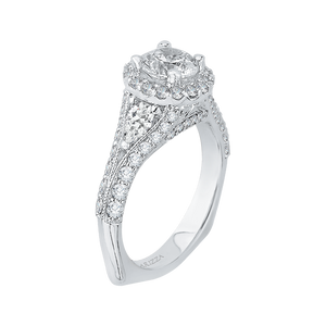 Pear Diamond Halo Engagement Ring In 14K White Gold with Split Shank (Semi Mount)