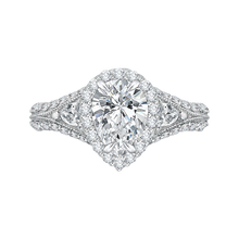 Load image into Gallery viewer, CAA0041E-37W Bridal Jewelry Carizza White Gold Pear Diamond Halo Engagement Rings
