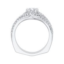 Load image into Gallery viewer, Pear Diamond Halo Engagement Ring In 14K White Gold with Split Shank (Semi Mount)