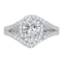 Load image into Gallery viewer, CAA0057E-37W Bridal Jewelry Carizza White Gold Pear Diamond Halo Engagement Rings