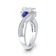 Load image into Gallery viewer, 14K White Gold Pear Diamond Engagement Ring with Sapphire (Semi Mount)