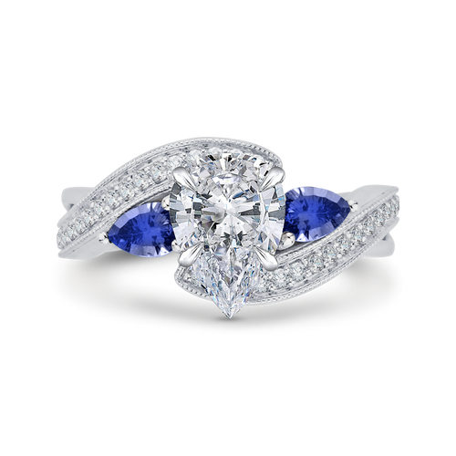 CAA0065E-S37W Bridal Jewelry Carizza White Gold Pear Diamond Engagement Rings