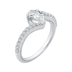 14K White Gold Pear Diamond Promise Engagement Ring (Semi Mount)