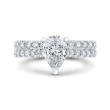 Load image into Gallery viewer, 14K White Gold Pear Diamond Engagement Ring (Semi Mount)