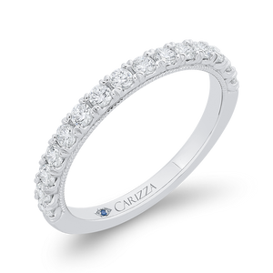 Round Cut Diamond Half Eternity Wedding Band In 14K White Gold