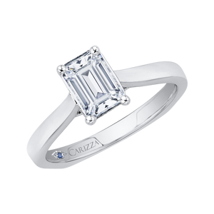 14K White Gold Emerald Cut Diamond Solitaire Engagement Ring (Semi Mount)