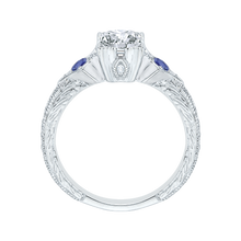 Load image into Gallery viewer, 14K White Gold Emerald Cut Diamond Engagement Ring with Sapphire (Semi Mount)