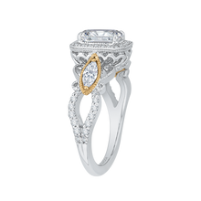 Load image into Gallery viewer, 14K Two Tone Gold Emerald Cut Diamond Halo Engagement Ring (Semi Mount)