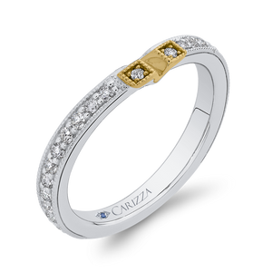 Round Diamond Wedding Band In 14K Two Tone Gold