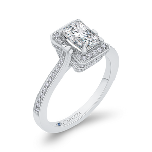 14K White Gold Emerald Cut Diamond Engagement Ring (Semi Mount)
