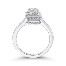 Load image into Gallery viewer, 14K White Gold Emerald Cut Diamond Engagement Ring (Semi Mount)