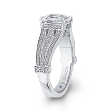 Load image into Gallery viewer, 14K White Gold Emerald Diamond Engagement Ring with Split Shank (Semi Mount)