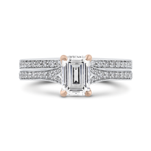 Load image into Gallery viewer, 14K Two Tone Gold Emerald Cut Diamond Engagement Ring (Semi Mount)