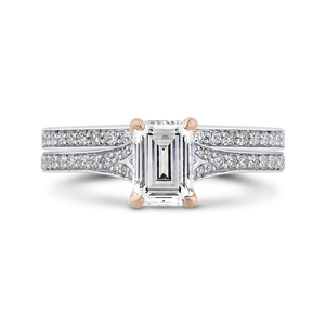 14K Two Tone Gold Emerald Cut Diamond Engagement Ring (Semi Mount)
