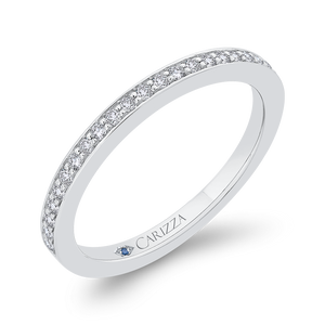 14K White Gold Round Cut Diamond Half Eternity Wedding Band