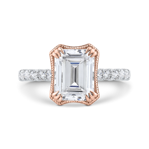 CAE0459EH-37WP-2.50 Bridal Jewelry Carizza, Diamond Emerald Engagement Rings Rose Gold White Gold
