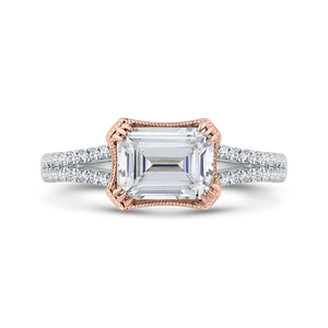 CAE0484EH-37WP-1.50 Bridal Jewelry Carizza White Gold,Rose Gold Emerald Diamond Engagement Rings