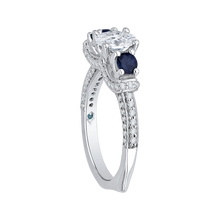 Load image into Gallery viewer, 14K White Gold Oval Diamond With Sapphire Three Stone Engagement Ring (Semi Mount)