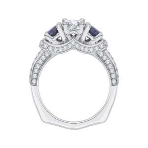 14K White Gold Oval Diamond With Sapphire Three Stone Engagement Ring (Semi Mount)