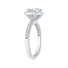 Load image into Gallery viewer, 14K White Gold Oval Diamond Halo Engagement Ring with Euro Shank (Semi Mount)