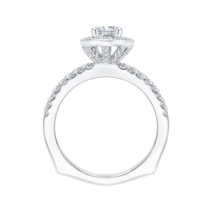14K White Gold Oval Diamond Halo Engagement Ring with Euro Shank (Semi Mount)