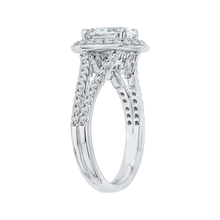 Load image into Gallery viewer, 14K White Gold Oval Diamond Halo Engagement Ring with Split Shank (Semi Mount)
