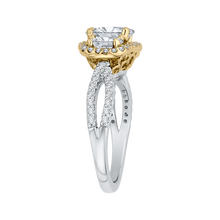 Load image into Gallery viewer, 14K Two Tone Gold Oval Cut Diamond Three Stone Halo Engagement Ring (Semi Mount)