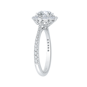 Oval Diamond Halo Engagement Ring In 14K White Gold (Semi Mount)