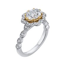 Load image into Gallery viewer, 14K Two Tone Gold Oval Diamond Halo Engagement Ring (Semi Mount)