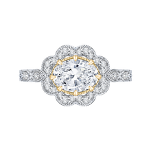 Load image into Gallery viewer, CAO0165EH-37WY-1.50 Bridal Jewelry Carizza White Gold Rose Gold Yellow Gold Oval Diamond Halo Engagement Rings