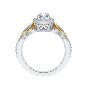 14K Two Tone Gold Oval Diamond Halo Engagement Ring (Semi Mount)
