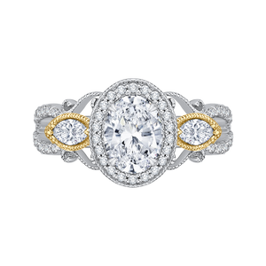 CAO0175EH-37WY Bridal Jewelry Carizza White Gold Rose Gold Yellow Gold Oval Diamond Halo Engagement Rings