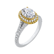 Load image into Gallery viewer, 14K Two Tone Gold Oval Diamond Halo Engagement Ring with Split Shank (Semi Mount)