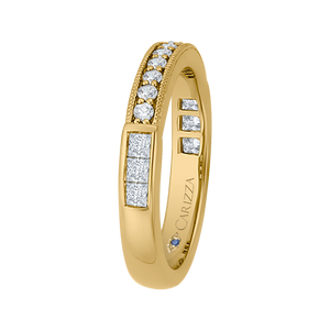 14K Yellow Gold Round and Princess Diamond Wedding Band