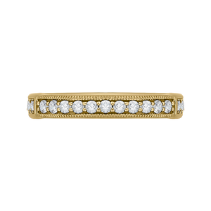 CAO0206B-37 Bridal Jewelry Carizza Yellow Gold Round Diamond Wedding Bands
