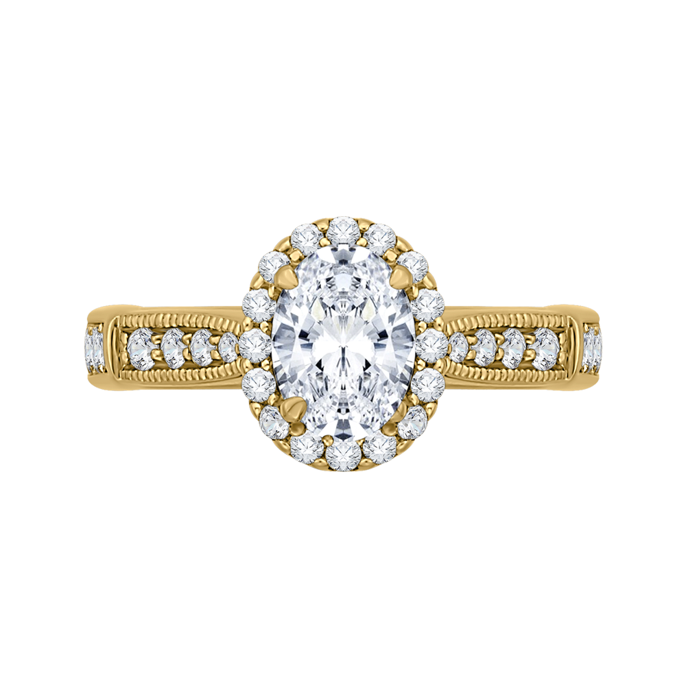 CAO0206E-37 Bridal Jewelry Carizza Yellow Gold Oval Diamond Halo Engagement Rings