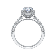 Load image into Gallery viewer, 14K White Gold Oval Cut Diamond Halo Engagement Ring (Semi Mount)