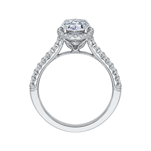 14K White Gold Oval Cut Diamond Halo Engagement Ring (Semi Mount)