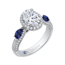 Load image into Gallery viewer, 14K White Gold Oval Diamond Halo Engagement Ring with Sapphire (Semi Mount)