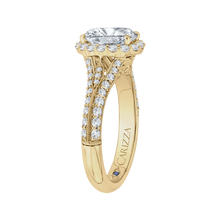 Load image into Gallery viewer, Oval Diamond Halo Vintage Engagement Ring In 14K Yellow Gold (Semi Mount)