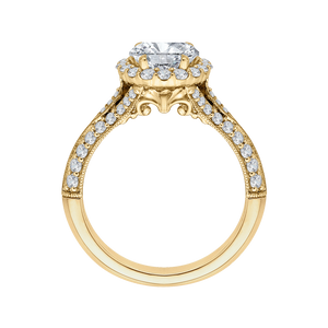 Oval Diamond Halo Vintage Engagement Ring In 14K Yellow Gold (Semi Mount)