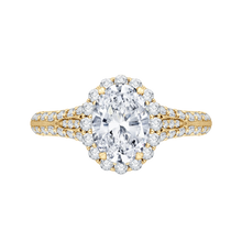 Load image into Gallery viewer, CAO0220E-37-1.50 Bridal Jewelry Carizza Yellow Gold Vintage Oval Diamond Halo Engagement Rings
