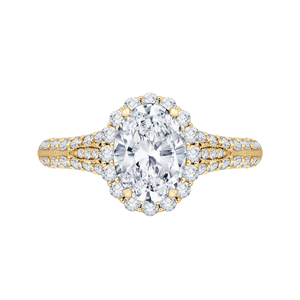 CAO0220E-37-1.50 Bridal Jewelry Carizza Yellow Gold Vintage Oval Diamond Halo Engagement Rings