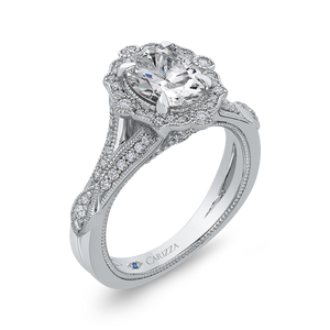 Oval Diamond Halo Engagement Ring In 14K White Gold with Split Shank (Semi Mount)