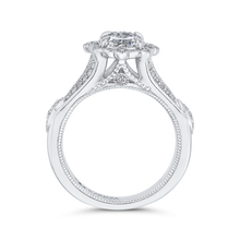 Load image into Gallery viewer, Oval Diamond Halo Engagement Ring In 14K White Gold with Split Shank (Semi Mount)