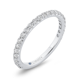 14K White Gold Round Cut Diamond Wedding Band