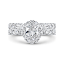 Load image into Gallery viewer, 14K White Gold Oval Diamond Halo Engagement Ring (Semi Mount)