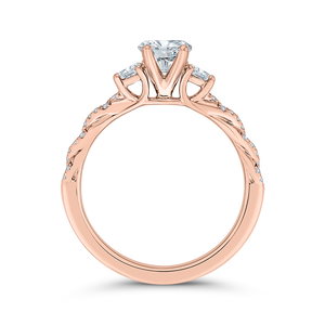 14K Rose Gold Diamond Engagement Ring (Semi-Mount)